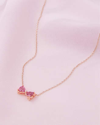 Ted Baker IORAA 9ct rose gold and pink tourmaline bow necklace