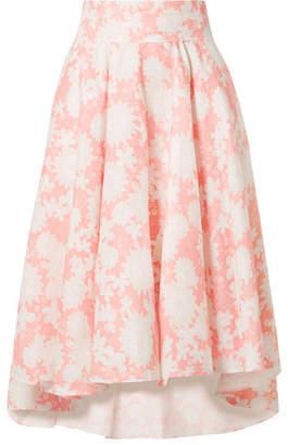 Miguelina Jackie Floral-print Linen Midi Skirt - Blush