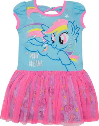 My Little Pony Toddler Girls' Tulle Dress Rainbow Dash, and Pink
