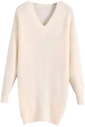 Goodnight Macaroon 'Hazel' V-Neck Rib Knitted Oversized Sweater (4 Colors)