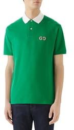 Gucci GG Embroidered Pique Polo