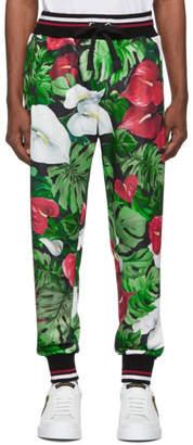 Dolce & Gabbana Black and Green Anthurium Lounge Pants