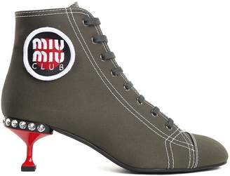 Miu Miu Club Cotton-canvas Booties