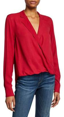 Rag & Bone Dean Collared Cross-Front Blouse