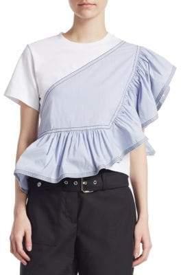 3.1 Phillip Lim Short-Sleeve Ruffle Jersey Peplum Tee