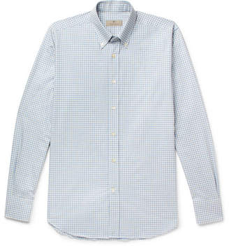 Canali Button-Down Collar Gingham Cotton Shirt - Men - Light blue