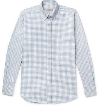 Canali Button-Down Collar Gingham Cotton Shirt - Light blue
