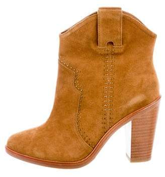 Joie Suede Round-Toe Ankle Boots