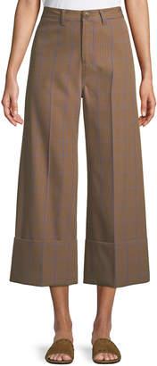 Sea Peyton Wide-Leg Cuffed Plaid Pants