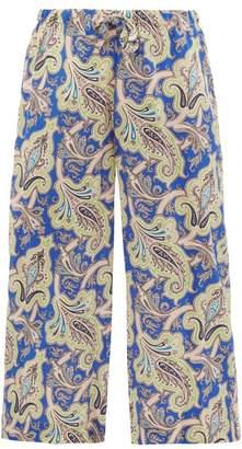 Etro Paisley Print Silk Crepe De Chine Cropped Trousers - Womens - Blue