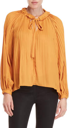 Lucy Paris Mustard Pleated Tie-Neck Blouse