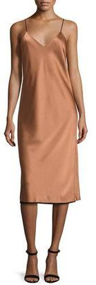 DKNY Sleeveless Reversible Satin Slip Dress, Copper/Black $398 thestylecure.com
