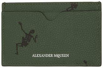 Alexander McQueen Green Dancing Skeleton Card Holder