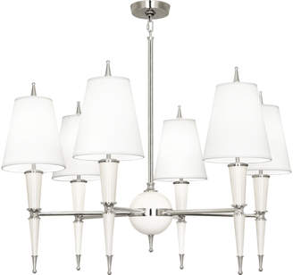 Jonathan Adler Versailles Chandelier in Nickel with Fabric Shade