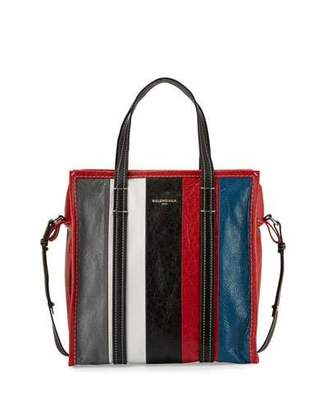 Balenciaga Bazar Small Striped Leather Shopper Tote Bag $1,495 thestylecure.com