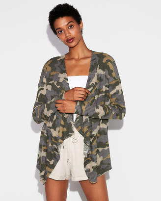 Express One Eleven Camo Waffle Drape Front Cover-Up