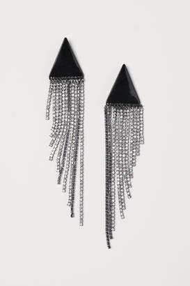H&M Long Rhinestone Earrings - Black
