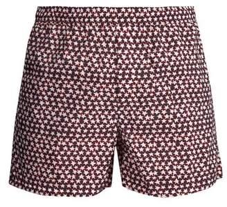 Valentino - Star Print Swim Shorts - Mens - Navy Multi