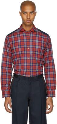 Junya Watanabe Red and Navy Tartan Check Shirt