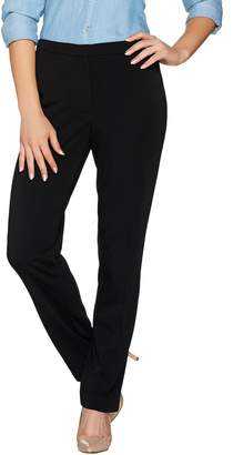 Susan Graver Milano Knit Zip Front Straight Leg Pants - Regular
