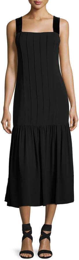 Elizabeth And James Sabella Wide Velvet Strap Pintuck Dress
