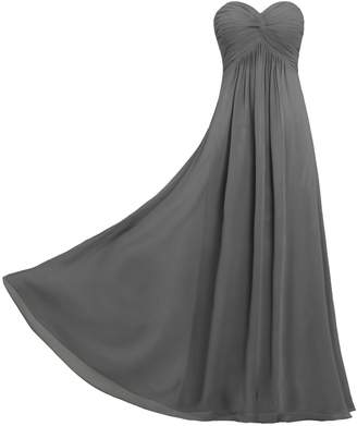 ANTS Women's Pleat Chiffon Strapless Bridesmaid Dresses Long Gowns Size US Grey