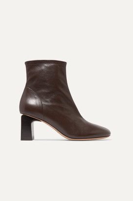 BY FAR Vasi Leather Ankle Boots - Dark brown