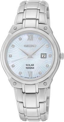 Seiko Womens Diamond-Accent Stainless Steel Solar Bracelet Watch SUT213 $295 thestylecure.com