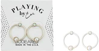 Dogeared Playing By Ear, Two Hole Lip Card, Ring with Pearl and Opal Essence Bezeled Earrings Earring