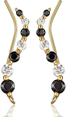clear The Ear Pin Cubic Zirconia Black and Journey Over Silver Earrings