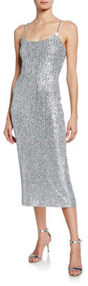 St. John Sequin Scoop-Neck Sleeveless Statement Dress w/ Chain Detail