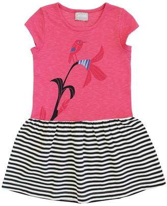 Coccoli Perching Bird Striped Dress