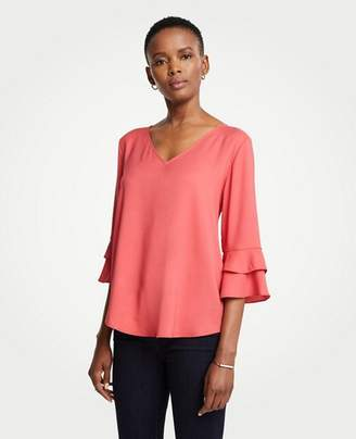 Ann Taylor Tiered Ruffle Cuff Top
