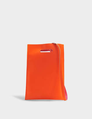 MM6 MAISON MARGIELA Hand Carry Plastic Bag in Orange Fluo Synthetic Leather