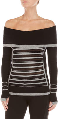 Blanc Noir Wool Striped Off-the-Shoulder Sweater