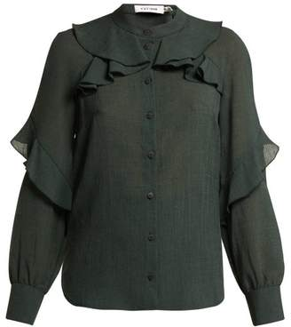 Cefinn - Ruffled Voile Blouse - Womens - Dark Green