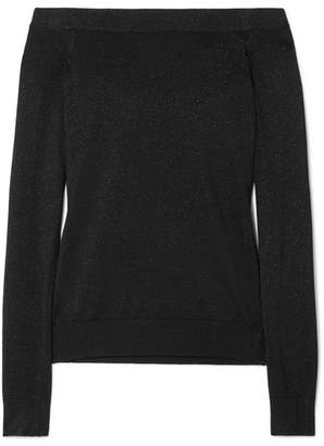 Michael Kors Off-the-shoulder Metallic Sweater - Black