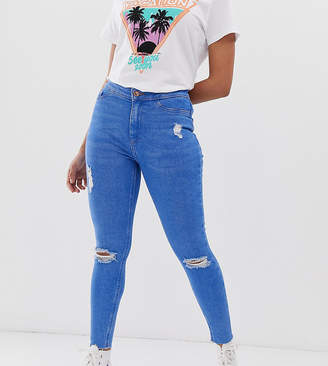 New Look Petite ripped skinny jeans in blue
