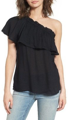 Women's Hinge One-Shoulder Ruffle Top $69 thestylecure.com