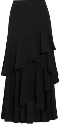 Alice + Olivia Alice Olivia - Martina Asymmetric Ruffled Crepe Maxi Skirt - Black