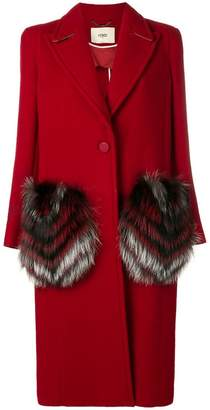 Fendi fur pocket single breasted coat