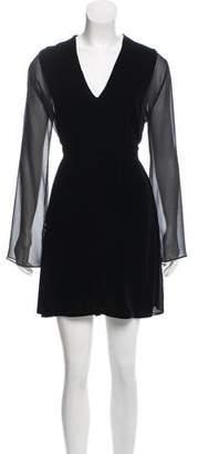 Chloé Velvet Sheer Paneled Mini Dress