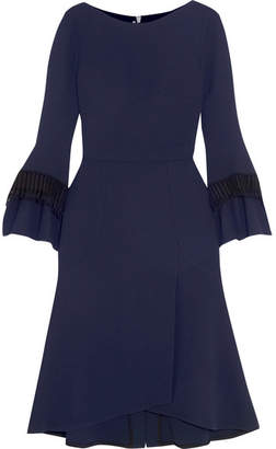 Roland Mouret Ulverston Macramé Lace-trimmed Wool-crepe Dress - Navy