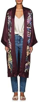Alice Archer Women's Gianna Embroidered Silk Satin Robe - Purple