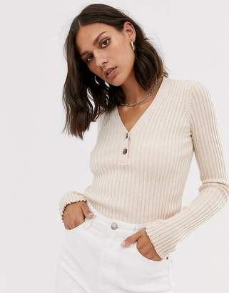 And other stories &  knitted top with button detail in beige