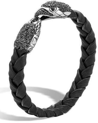 John Hardy Men's Legends Batu Leather Eagle Bracelet, Black