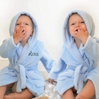 A Type Of Design Personalised Twins Soft Baby Dressing Gowns In Blue