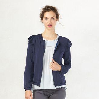 Women's LC Lauren Conrad Ruffle Bomber Jacket $60 thestylecure.com