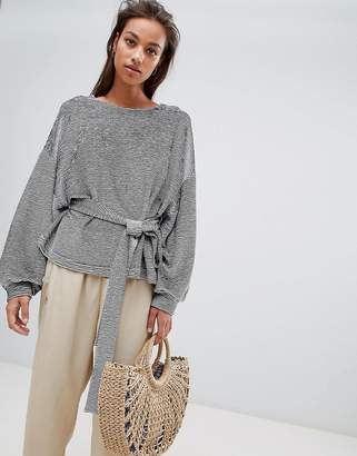 French Connection Textured Belted Sweat Top