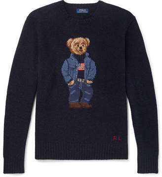 Polo Ralph Lauren Bear-Intarsia Wool Sweater - Men - Navy